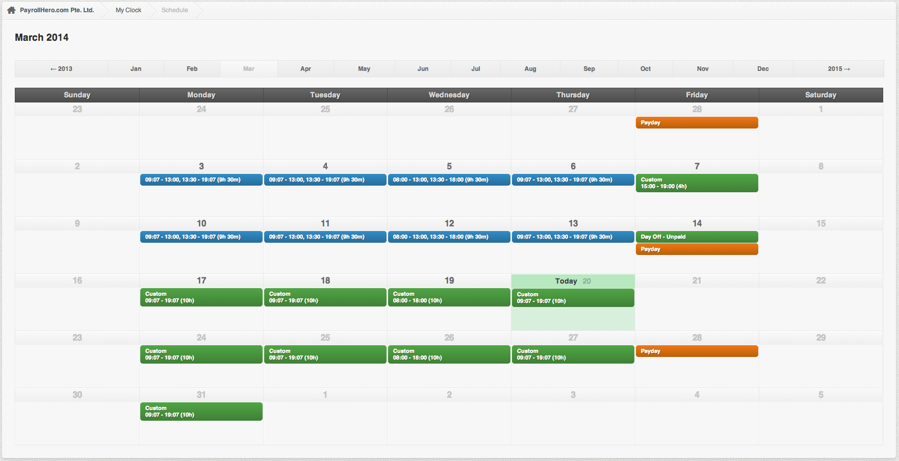 Schedules with PayrollHero